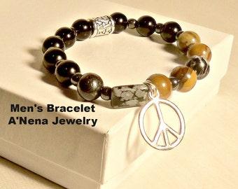 Men's Bracelet-Peace- 925 Sterling Silver,Snow Flake Obsidian, Banded Jade, Zebra Jasper And Black Jasper