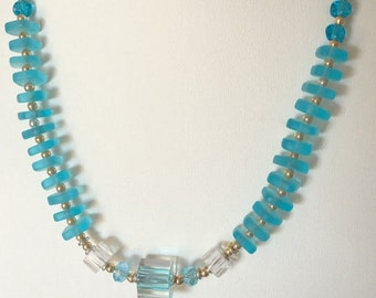 Turquoise Colored Cube Shaped Furnace Glass Bead Necklace (Handcrafted)
