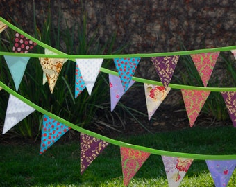 Party Fabric Flag Bunting Banner for Birthdays, Photography Props, Celebrations | Handmade Fabric Garland | Craft Fair Decor