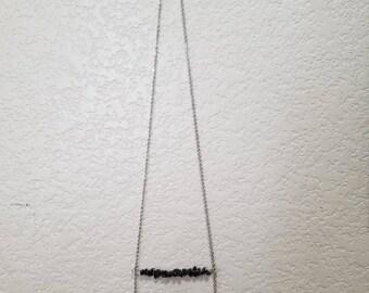 Long Obsidian Beaded Necklace