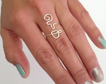 Coffee Addict Ring (or Tea Addict), Mug/Cup with Steam, Adjustable Wire Wrap Around Ring. The Perfect Coffee Lover Gift!