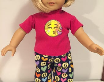 American Girl 18 inch flannel Emoji two piece pajama set