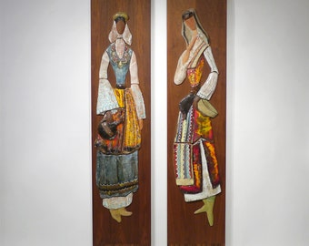 Amazing HARRIS STRONG Large PAIR of Ceramic Wall Plaques