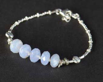 Blue Chalcedony and sterling silver Bracelet, Gemstone Bracelet, Beadwork Bracelet, Handmade Gemstone Jewelry