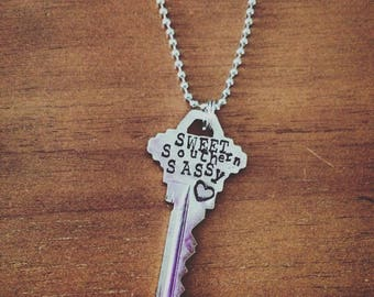 Sweet Southern Sassy, Vintage Key Pendant Necklace, Hand Stamped