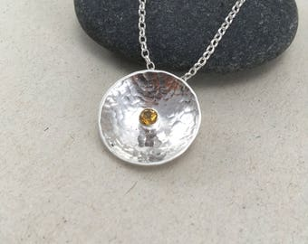 Hammered Citrine Circle Necklace, Citrine Dome, Necklace Silver Dome Pendant,  Silver Necklace, November Birthstone, Citrine Jewellery
