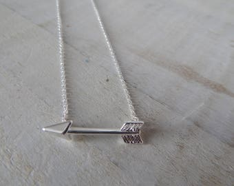 Silver Plated Charm Arrow Necklace