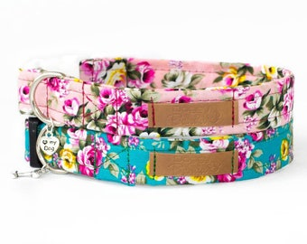 Rustic Roses Dog Collar Pink Turquoise Dog Collar Teacup Watercolor Dog Collar Flower Bouquet Dog Collar Vintage Retro Dog Collar Romantic