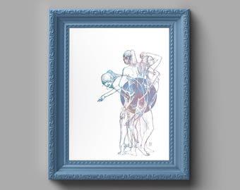 Figures of the Moon Art Print - Femininity, Feminism, Fine Art, Gift for Him, Gift for Her, Wall Art, Home Decor, Gallery