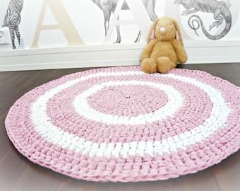 Stripes - Crocheted kids rug / nursery area rug