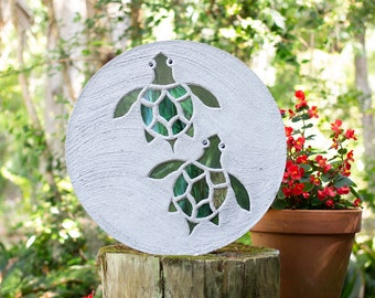 Baby Sea Turtle Hatchlings Stained Glass Stepping Stone #863