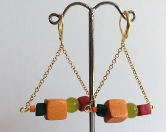 Cheerful colors triangle earrings orange green red