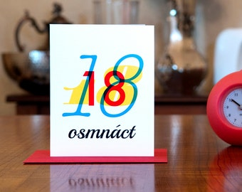 Osmnáct - Number Eighteen (18) Czech Bilingual Birthday Card in Primary Colors on 100% Recycled Paper