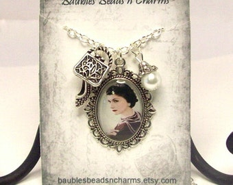 Coco Chanel Charm Necklace, Coco Chanel Jewelry, Pendant Necklace, Photo Necklace, Picture Charm Necklace, Oval Pendant Necklace
