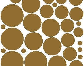 34 Gold Metallic Polka Dot Wall Decals Removable Polka Dot Wall Stickers