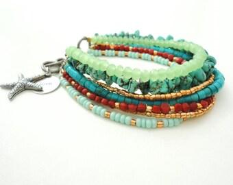 Turquoise Beach Bracelet Friendship Bracelet Beaded Bracelet Starfish Stamped Charm Bracelet Gypsy Bohemian Jewelry Bracelet
