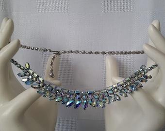 Sherman Blue Aurora Borealis Blue Necklace, c.1950