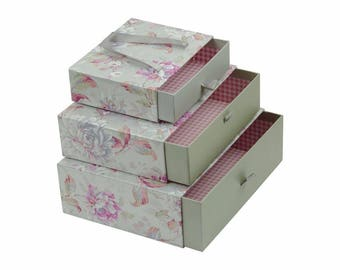 Floral Print Gift Box Silver - Set of 3