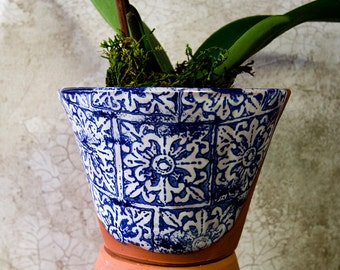 Blue and White Terra Cotta Planter with Italian Tile Design (Ready to Send)