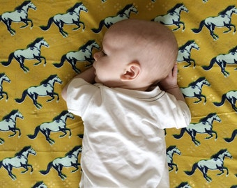 Horse Baby Bedding -Western Crib Bedding /Fitted Crib Sheets / Mini Crib Sheets / Changing Pad Cover / Horse Crib Sheets by Babiease on Etsy