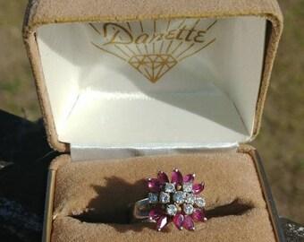 Vintage garnet diamond ring, vintage diamond ring, vintage garnet ring, vintage statement jewelry, diamond ring, white gold ring, size 5