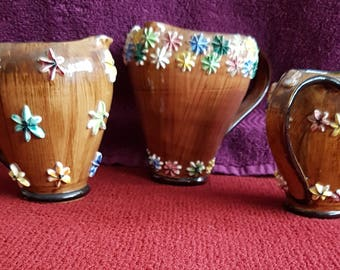 """A Trio of Vintage Italian Porcelain Jugs """"Probably by Kisch""""."""