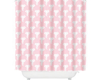 pink shower curtain, elephant shower curtain, elephant bathroom decor, kids shower curtain, childrens shower curtain, girls shower curtain