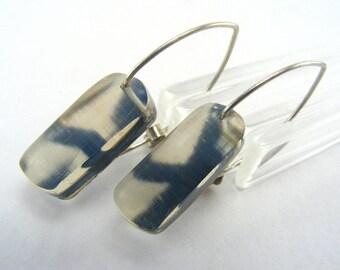 Perspex Beige Earrings - Perspex Drop Earrings - Beige Black Pattern Earrings - Silver Hook Drops - Pierced Ears Acrylic Earrings