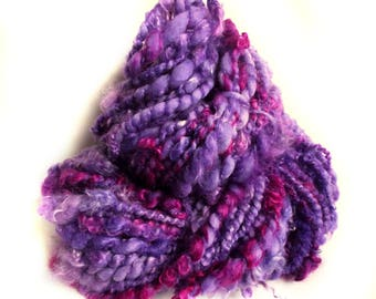 Chunky yarn hand dyed yarn handspun yarn merino wool yarn chunky wool bulky yarn weaving yarn bulky wool yarn handspun art yarn purple yarn