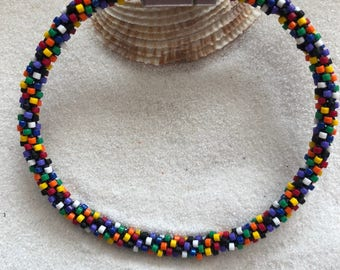 Multicolor Beaded Kumihimo Bracelet w Magnetic Clasp
