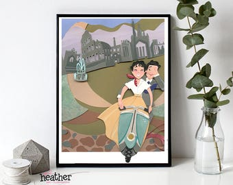 Roman Holiday Paper Cut Illustration, Audrey Hepburn, Rome, Paper art, Cut paper art, Audrey