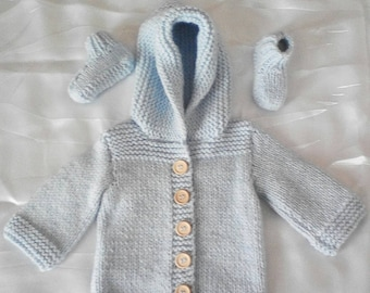 Coat (coat) and 3/6 month baby booties hand knitted