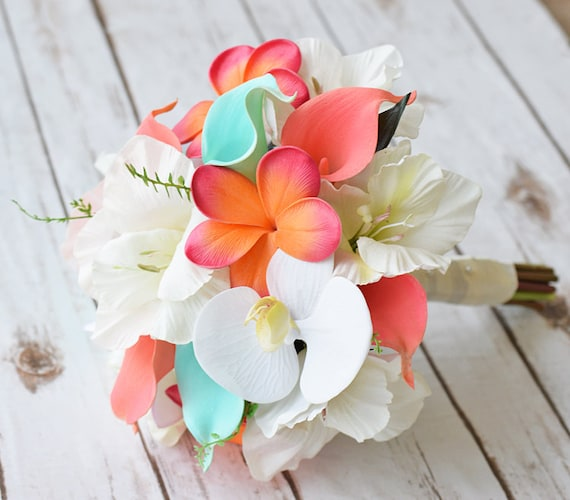 Wedding off white coral orange and turquoise peach natural mightylinksfo