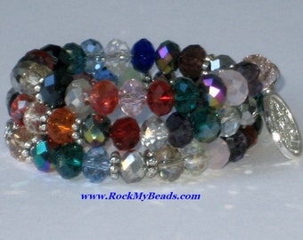 Multicolored Crystal Memory Wire Rosary Bracelet,rosary,religious bracelet,praying beads,wrap rosary,rosary beads,prayer beads,wrap bracelet