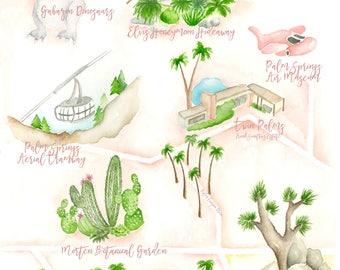 Custom Wedding Map - Palm Springs Wedding Map - Watercolor Wedding Map- Illustrated Wedding Map