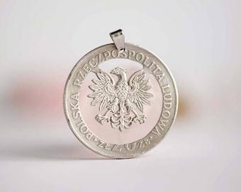 Poland Cut Coin Necklace. 20 Złotych, 1974-1983. Eagle.