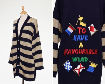 J.C. de CASTELBAJAC 1980s navy blue and gold lurex striped cotton maxi cardigan sweater - size M