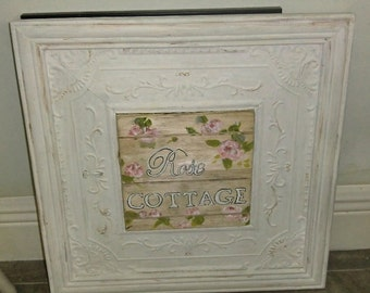 Tin Ceiling frame in wood frame with wood planks cut and hand painted