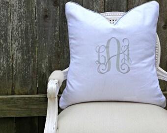 Monogrammed Piped White Linen Pillow Cover/ 20x20 Toss Pillow /Accent Pillow/  Designer Custom Linen Pillow Cover