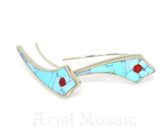 Silver EARRINGS CLIMBERS with natural Turquoise and Red Coral, Handmade Jewelry, Ear Crawler,Natural stones, Ear crawlers, Ear Cuff Earrings