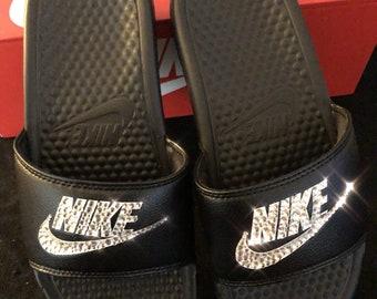 Women's Nike Benassi Slide Sandals- Bling Nike Slides- Bling Nike Slide Shoes- Custom Nike Slides- Swarovski Crystal Nike Slides
