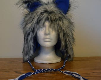 Grey/Black and Blue Ear Hat