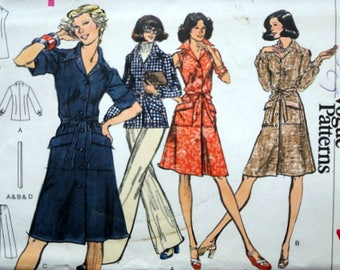 Vintage 70's Very Easy Vogue 8766 Sewing Pattern, Misses' Shirt Dress, Tunic & Pants, Size 14, 36 Bust, Uncut FF, Retro 1970's Fashion