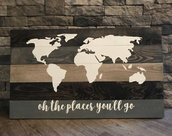 Multi Stain Rustic World Map Wooden Sign, Globe Sign, World Sign, Christmas Gift, Christmas Present, World Map Sign, Map Sign