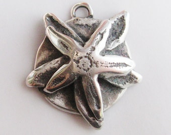 Double Sea Star, starfish pendant, sterling pendant, beach jewelry, star pendant, sand, sea, ocean jewelry