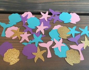 100 mermaid confetti, under the sea party, mermaid birthday party, baby shower, girls party, little mermaid
