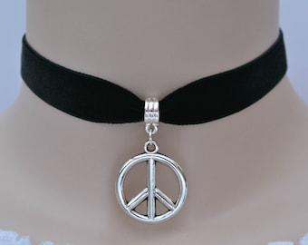 PEACE Black Ribbon Choker, 16mm Velvet Ribbon, 30 Colours, Symbol Charm, Handmade To Size :)