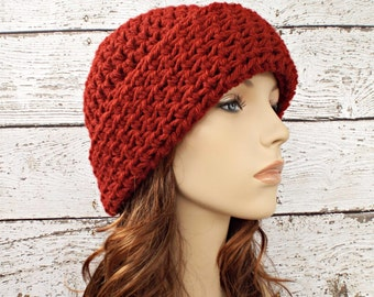 Red Crochet Hat Red Womens Hat - Wide Cuff Beanie Hat Redwood Deep Red Beanie - Red Hat Womens Accessories Fall Fashion Winter Hat
