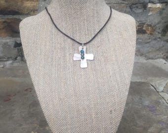 Carved cross shell necklace