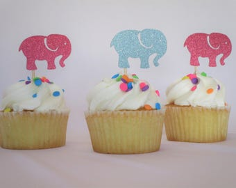 12 Count Elephant Cupcake Toppers – Baby Shower Toppers – Gender Reveal Toppers – Birthday Toppers – Dessert Toppers – Glitter Toppers